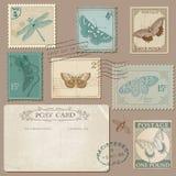 Roczników znaczki pocztowi i pocztówka ilustracja wektor