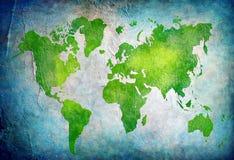 Rocznik światowa mapa z błękitnym tłem Zdjęcia Stock