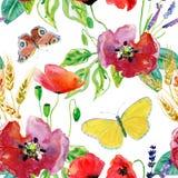 Rocznik akwareli bukiet wildflowers, bezszwowy wzór z maczek stokrotek cornflowers ilustracji