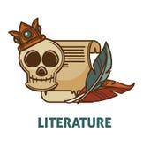Rocznik antyczna literatura i poezi książka z czaszka wektorem odizolowywaliśmy ikonę dla poezi literatury lub bookstore bibliote ilustracja wektor