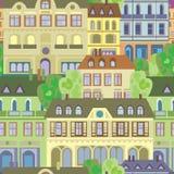 Rocznik architektury klasycznego domu bezszwowy wzór Zdjęcie Stock