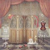 Rocznik atrapa i ekran w pokoju, modnym ilustracji