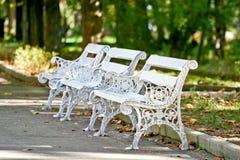 Rocznik ławka w Dimitrie Ghica parku, Sinaia, Rumunia Fotografia Royalty Free