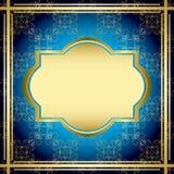 Rocznik błękitny i złocista karta - wektor ilustracji