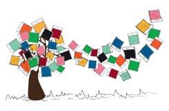 Rocznik barwi natychmiastowego fotografii drzewa ilustracja wektor