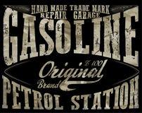 Rocznik benzyna, autentyczny benzynowej pompy wektorowy ilustracyjny druk V ilustracja wektor