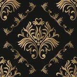 rocznik bezszwowy wzoru Kwiecista ozdobna tapeta Ciemny wektoru adamaszka tło z dekoracyjnymi ornamentami i kwiatami w baroku royalty ilustracja
