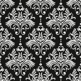 rocznik bezszwowy wzoru Kwiecista ozdobna tapeta Ciemny wektoru adamaszka tło z dekoracyjnymi ornamentami i kwiatami w baroku ilustracja wektor