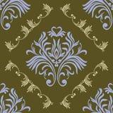 rocznik bezszwowy wzoru Kwiecista ozdobna tapeta Wektoru adamaszkowy tło z dekoracyjnymi ornamentami i kwiaty w baroku projektuje ilustracja wektor