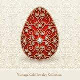 Rocznik biżuterii złocisty Wielkanocny jajko Obrazy Stock