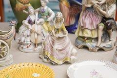 Rocznik Ceramiczne figurki ludzie, Outdoors Fotografia Stock
