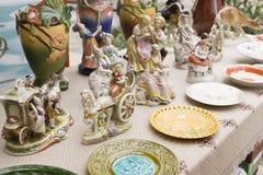 Rocznik Ceramiczne figurki ludzie, Outdoors Zdjęcie Stock