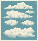 Rocznik chmura ustawiająca - wektorowa ilustracja Fotografia Stock