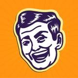 Rocznik Clipart: 50s patrzeje przystojnego i powabnego portreta uśmiechnięty retro mężczyzna Obrazy Stock