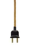Rocznik władzy prymka z żółtym sznurem odizolowywającym na bielu Fotografia Royalty Free