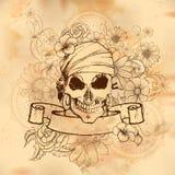 Rocznik czaszki stylowego grungy druku retro tło ilustracji