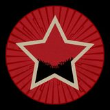 Rocznik czerwieni gwiazda z tłumem na czerwieni granicie z tribals Obraz Royalty Free