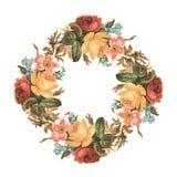 Rocznik czerwieni różowy i żółty rocznik róży kwiatu bukieta wianek ilustracja wektor