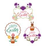 Rocznik dekoraci ramowi kwieciści króliki koszykowi z jajko dekoracją szczęśliwy Easter Fotografia Stock