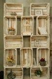Rocznik drewniana półka z książki klatki suchymi kwiatami Obraz Stock