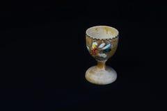 Rocznik Drewniana Rzeźbiąca Jajeczna filiżanka Zdjęcia Stock