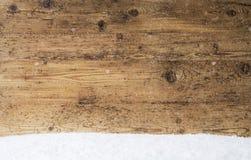 Rocznik Drewniana tekstura, tło Z kopii przestrzenią, śnieg zdjęcia royalty free