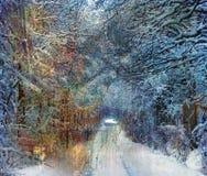 rocznik drogowa zima Zdjęcia Stock