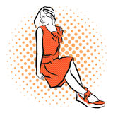 Rocznik dziewczyna siedzi Z powrotem i przyglądający ilustracji
