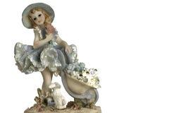 Rocznik dziewczyna z królikiem w kiecce obraz royalty free