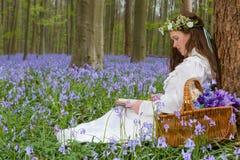 Rocznik dziewczyny czytanie w wiosna lesie obrazy royalty free