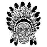 Rocznik etniczna ręka rysująca ludzka czaszka Fotografia Stock