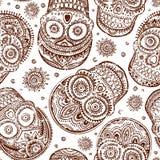 Rocznik etniczna ręka rysująca ludzka czaszka bezszwowa Obraz Royalty Free