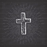 Rocznik etykietka, ręka rysujący chrześcijanina krzyż, religijny znak, krucyfiksu symbolu grunge textured retro odznakę, typograf royalty ilustracja