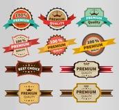 Rocznik etykietka ustawiająca premia i rabat ilustracja wektor