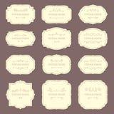 Rocznik etykietki ramy Stare ornamentacyjne etykietki, moda produktu etykietka Retro ramowy wektorowy szablon royalty ilustracja