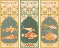 Rocznik etykietki: ryba - sztuki nouveau rama Obraz Stock