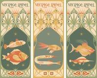 Rocznik etykietki: ryba - sztuki nouveau rama Zdjęcia Royalty Free