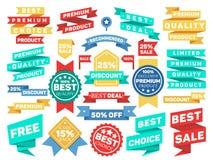 Rocznik etykietki sztandaru etykietki majcheru odznaki wektoru set Zdjęcia Royalty Free