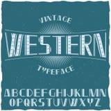 Rocznik etykietki Typeface Zwany Western Obraz Royalty Free