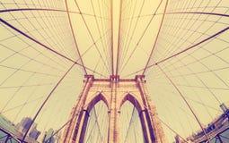 Rocznik filtrował fisheye obrazek most brooklyński, NYC Fotografia Stock