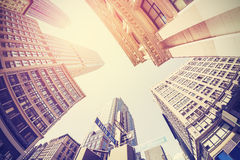 Rocznik filtrujący fisheye obrazek Manhattan Obrazy Stock