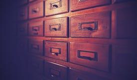Rocznik filtrujący drewniany karciany katalog Obraz Royalty Free