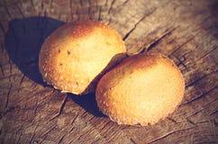 Rocznik fotografia pieczarki na rżniętym drzewnym bagażniku Obrazy Royalty Free