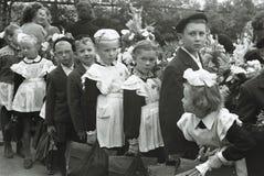 Rocznik fotografia Radzieccy dziecko w wieku szkolnym Obraz Royalty Free