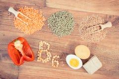Rocznik fotografia, składniki zawiera witaminę B6 i żywienioniowego włókno, pojęcie zdrowy jedzenie zdjęcie stock