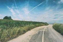 Rocznik fotografia wiejska droga Zdjęcie Stock