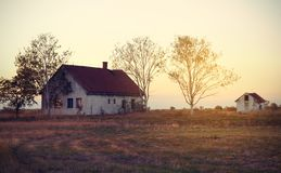 Rocznik fotografia zaniechany dom Zdjęcie Royalty Free