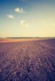 Rocznik fotografia zaorany pole krajobraz Zdjęcia Stock