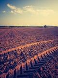 Rocznik fotografia zaorany pole krajobraz Obrazy Stock