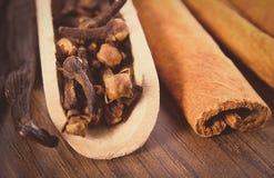 Rocznik fotografia, zbliżenie cloves, fragrant wanilia i cynamon na drewnianej nawierzchniowej desce, Obrazy Stock